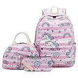 MCWTH Unicornio Mochilas Escolares Juveniles para Niñas Chicas con Bolsa de Almuerzo y Estuche