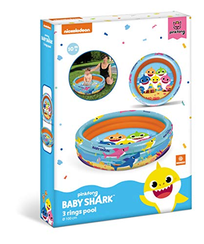 Mondo Toys-Baby Shark| 3 Rings Pool-Piscina Gonfiabile per Bambini 3 Anelli-Diametro 100 cm-capacità 84 Lt. -16897, Multicolore