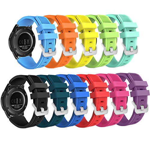 Smart Watch Band Compatible with Samsung Gear S3 Frontier/ Classic/Galaxy Watch 46MM ,11- Pack HMJ Band 22mm Soft Replacement Sport Bracelet Strap for Gear S3 Frontier / Classic /Moto 360 2 2nd Man