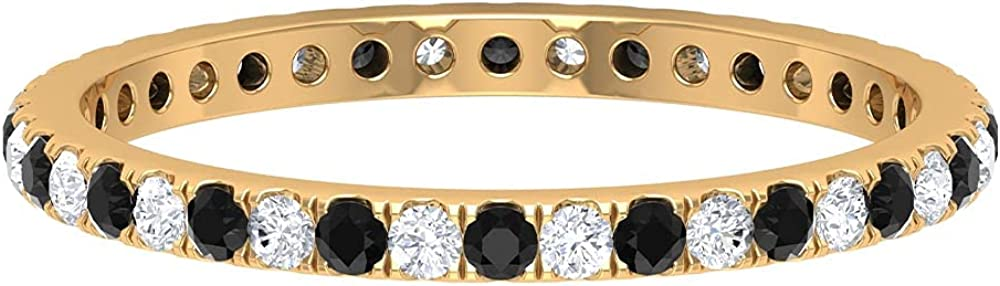 1/4 CT Black and White Diamond Full Eternity Stackable Rings, 14K Solid Gold
