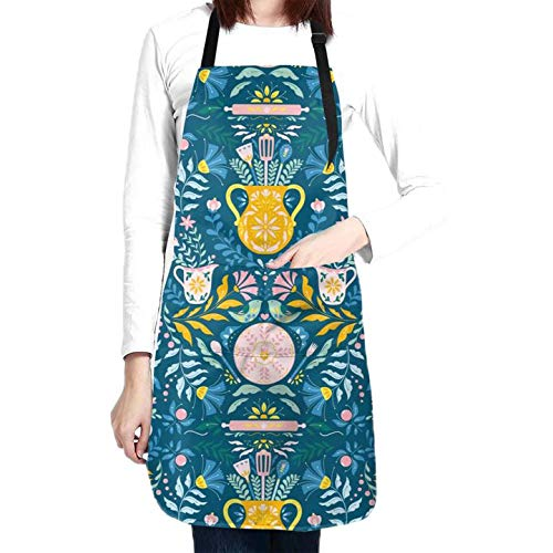 Floral Flower Apron Kitchen Utensils Birds Flower Green Kitchen Apron Waterproof Baking Apron For Women For Men With 2 Front Pockets Neck & Long Ties Apron For Home Kitchen Artist Chef Salon Apron