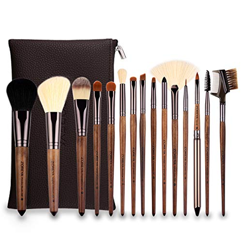 yuntaokexinxi Pinceaux de Maquillage 15 Black Walnut Handle Professional Makeup Brushes Set Foundation Blend Concealer Eye Liquid Cream Brush Set and Cosmetic Bag