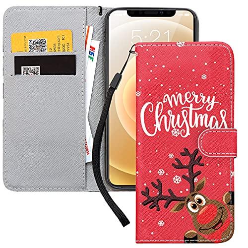Yoedge Funda para Apple iPhone 6 Plus / 6S Plus (5,5'), Navidad Regalo Rojo Flip Cuero PU Carcasa con Función de Soporte y Ranuras para Tapa Tarjetas Magnético, Cartera Case para iPhone 6S Plus, Elk
