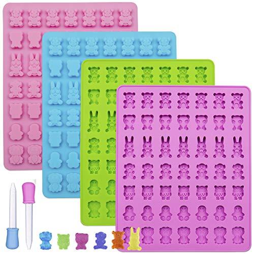 Sakolla - Moldes de silicona para golosinas (3 unidades), diseño de oso/mono/perro/búho y conejo, con 3 cuentagotas