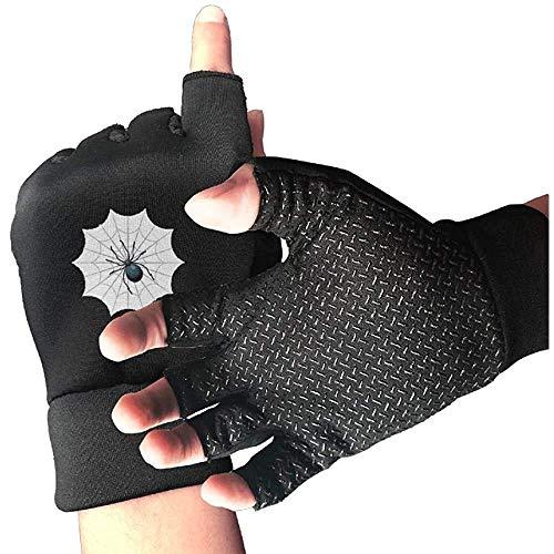 URMOER Antypoślizgowe rękawiczki rowerowe z połową palcem pająk Wed rękawice do ćwiczeń na siłownię trening podnoszenia ciężarów