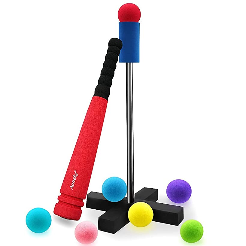 Aoneky Mini Foam Tball Set for Toddlers - Carry Bag Included - Best Baseball T Ball Toys for Kids Age 2 Years Old - Upgraded Version