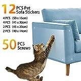 Pidsen Protector de Muebles Gatos, 12PCS Transparente Autoadhesivas contra Arañazos de Gato Protector con 40 Tornillos Rascador para Gatos y Perro, Protector de sofá para Detener