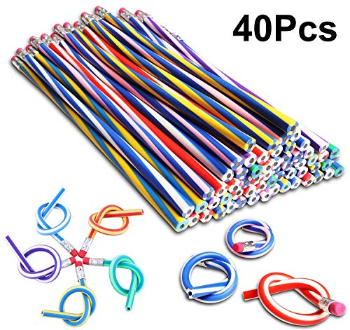 Party Bag Fillers Kids Bendy Flexible Pencils Girls Boys Adult Anxiety Products Fidget Toy Birthday Party Favours Gift Children Easter Egg Hunt Toys School Fun Equipment, 40Pcs