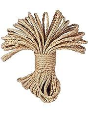 LUOOV 100% natuurlijke hennep koord touwen 6mm dikte en sterke jute touw sjerp, Jute String, Hessische touw, Camping Touw, Tuin, varen, huisdieren, Klimmen touw, Multi Purpose Utility Sisal Twine Touw, Jute Twine voor kunst ambachten DIY decoratie Gift Wrapping10m (30ft) -40m (128ft)