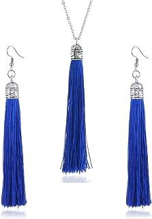 Colorful Long Tassel Necklace Earrings set Bohemian Drop Pendant for Girls Jewelry Sets for Women Girls