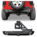 LEDKINGDOMUS Rear Bumper with Tire Carrier and 2' Hitch Receiver Compatible with 07-18 Jeep Wrangler JK JKU Rubicon...