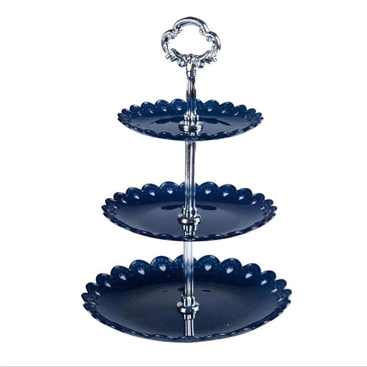 事業付添人うそつきToporchid 3層フルーツホルダーラック結婚式誕生日パーティーケーキプレートアフタヌーンティーケーキトレイ(ブルー)
