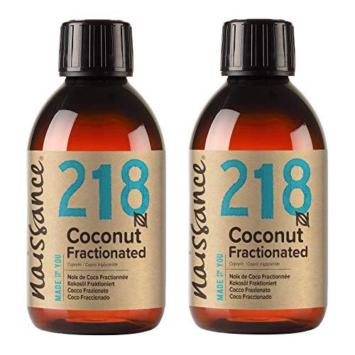 Naissance Huile de Coco Fractionnée (n° 218) - 500ml (2 x 250ml) - 100% pure et naturelle – inodore, légère et émolliente, sans film gras