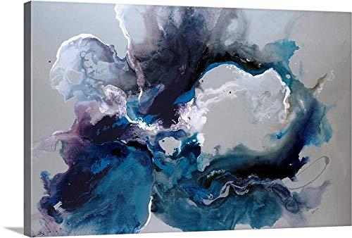 VYQDTNR - Arte de parede abstrata pintada à mão, águas cerúleas, quadro emoldurado para decoração de casa, escritório, pronto para pendurar