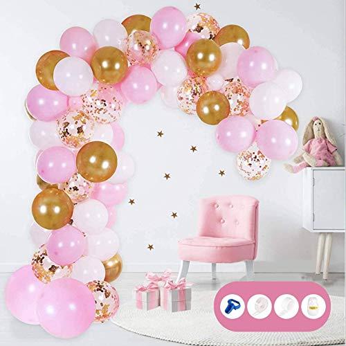 Set di Palloncini per Decorazioni per Feste, 121 Pezzi Kit Ghirlanda di Palloncini Rosa Palloncini in Lattice di Coriandoli Metallici per Compleanno Matrimonio Baby Shower