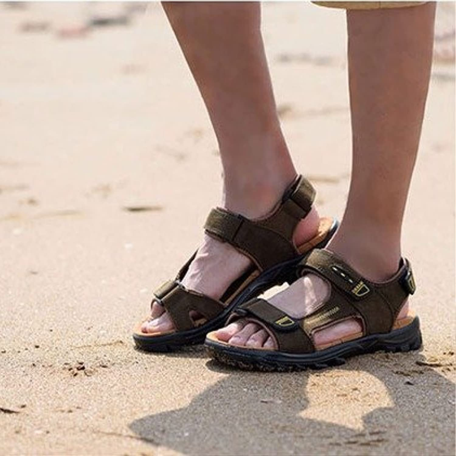 Men's leather sandals, summer students, beach shoes