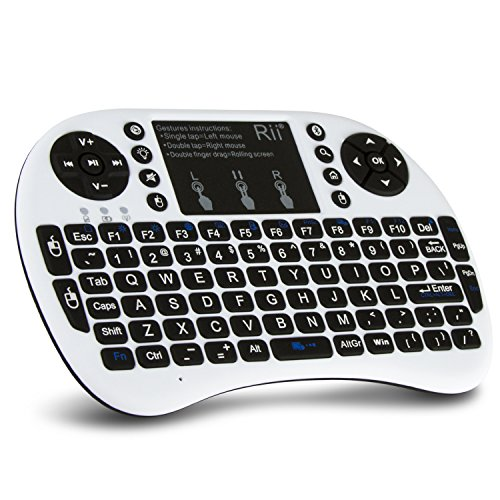 (Upgraded) Rii i8+ Mini Bluetooth Keyboard with Touchpad&QWERTY Keyboard, Backlit Portable Wireless Keyboard for Smartphones laptop/PC/Tablets/Windows/Mac/TV/Xbox/PS3/Raspberry Pi.White