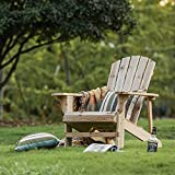 LOKATSE HOME Outdoor Natural Wood Adirondack Folding Classic...