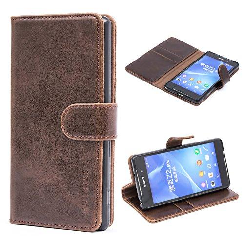 Mulbess Handyhülle für Sony Xperia Z2 Hülle Leder, Sony Xperia Z2 Handy Hüllen, Vintage Flip Handytasche Schutzhülle für Sony Xperia Z2 Case, Kaffee Braun
