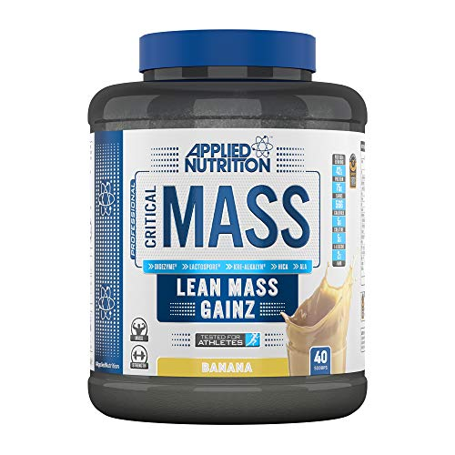 Applied Nutrition Critical Mass Professional Protein Powder, High Calorie Weight Gainer, Low Sugar, Informed Sport Tested, Lean Mass with Creatine, Glutamine, BCAA - 2.4kg (Banana)