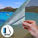 X-Solutions | Spiegelfolie Selbstklebend | Selbsthaftend, Silber reflektierende Fensterfolie | UV-Schutz Sonnenschutzfolie Fenster innen | Selbstklebende Sichtschutz, Sonnenschutz Folie | 90...