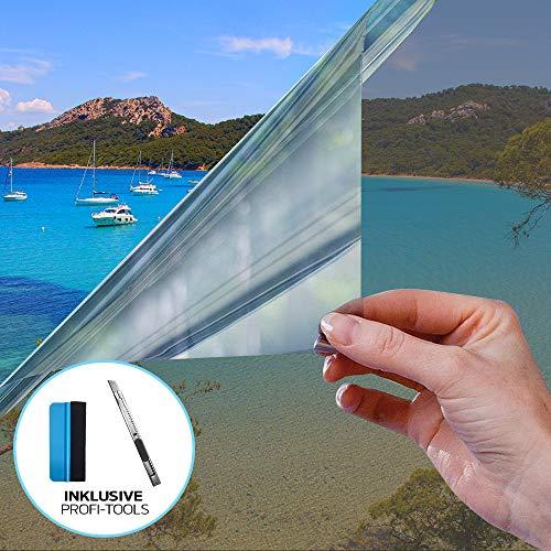 X-Solutions | Spiegelfolie Selbstklebend | Selbsthaftend, Silber reflektierende Fensterfolie | UV-Schutz Sonnenschutzfolie Fenster innen | Selbstklebende Sichtschutz, Sonnenschutz Folie | 45 x 200 cm