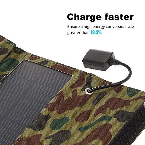 Blusea Draagbare oplader op zonne-energie, 10 W/5 V, met USB-aansluiting, opvouwbaar, 5 zonnepanelen, kampeertochten, compacte oplader op zonne-energie, voor tablet, laptop