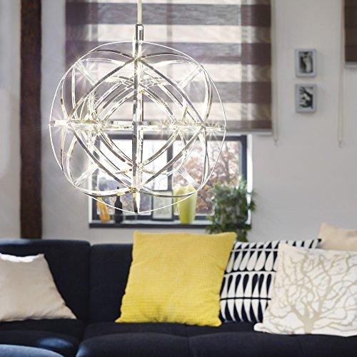 s.LUCE Atom 30 LED-Hängeleuchte Metallkugel 486 Lumen Hängelampe Designlampe Esszimmerleuchte Pendelleuchte Pendellampe Chrom