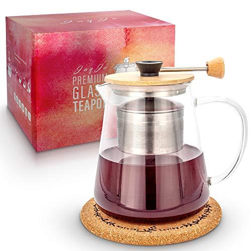Jay Jo Premium Teekanne aus Glas mit Siebeinsatz 950ml inkl. Korkuntersetzer / Teebereiter für losen Tee / hochwertiges Edelstahl - Sieb mit Hebefunktion perfekt für die optimale Teeziehzeit