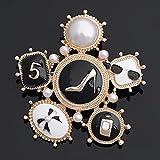RelaxLife Broche Broches De Esmalte De Moda para Mujer con Tacón De Perfume Y Broche En Tono Dorado Y Plateado