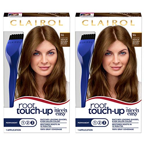 Clairol Root Touch-Up by Nice'n Easy Permanent Hair Dye, 5G Medium Golden Brown Hair Color, 2 Count
