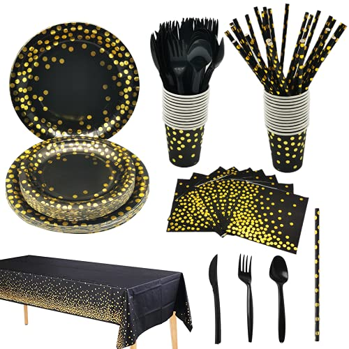 201PCS Black Gold Theme Party Supply Set,CEILIWEN Party Tableware Include Plate,Cup,Straw,Tablecloth,Napkin,Fork,Knife,Spoon,Party Dinnerware Set for Birthday Halloween Xmas New Year Party(25 Guests)