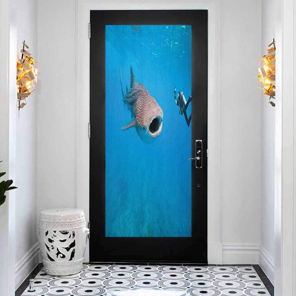 3D Door Decal 5 popular Stickers Free shipping anywhere in the nation Decor Shark Mural Whale Giant