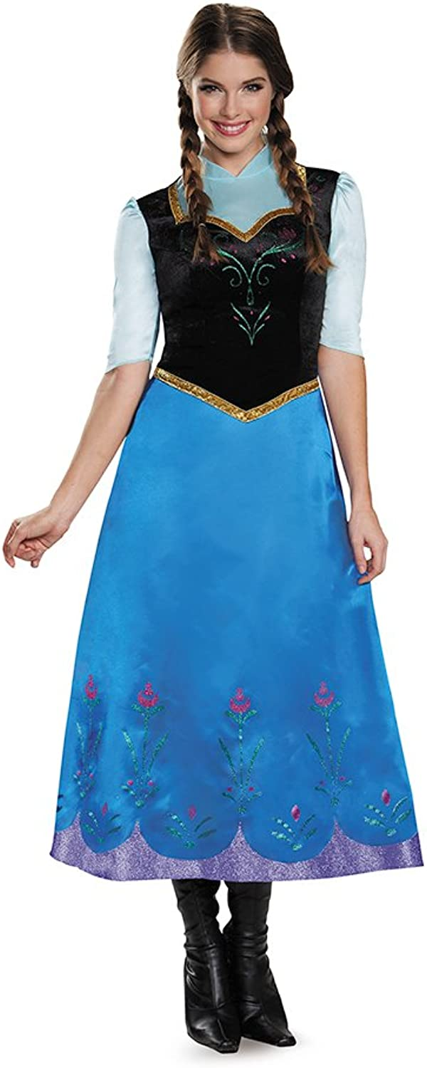 Disguise Womens Frozen Traveling Anna Deluxe Fancy dress costume Small