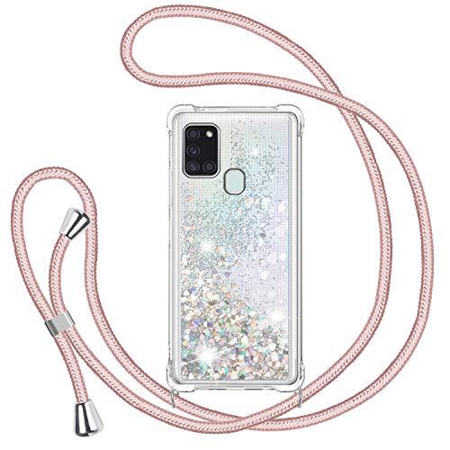 TUUT Handykette Hülle für Samsung Galaxy A21S, Glitzer Treibsand Necklace Silikon Stoßfest Handyhülle mit Band Transparent TPU Bumper Schutzhülle mit Kordel zum Umhängen, Quicksand Hülle in Rosé-Gold