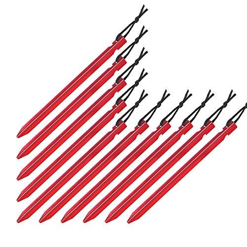 BB Sport 10er Set Trekking Erdnägel Zeltheringe aus Aluminium Y-Profil Länge 18 cm leicht - nur 15 g je Stück; für gemischte, Harte und steinige Böden, Farbe:rot