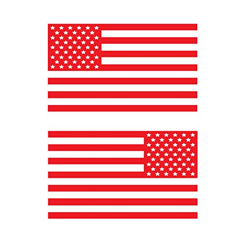 USA Subdued Single Color American Flag 50 Stars 2 Vinyl Die-Cut Decals - Includes Standard and Reversed Designs - Small - Red