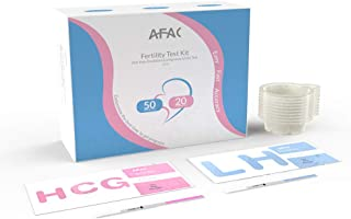 AFAC 50 Ovulation Test Strips, 20 Pregnancy Test Strips with 70 Urine Cups, 70 Count Individually Wrapped, Urine Test Strips (50LH + 20HCG + 70CUPS)