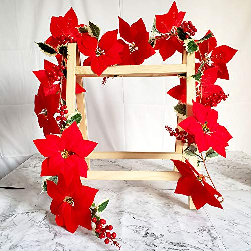 TRvancat Artificial Red Poinsettia Garland 175cm, with Berry Garland and Green Leaves for Christmas Party Home Decor
