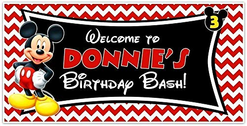 Mickey Mouse Personalized Birthday Bash Banner