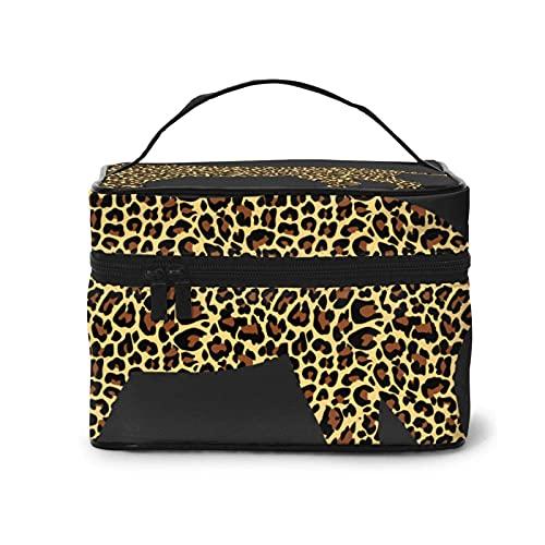 DJNGN Naughty Leopard Makeup Bag Travel Große Kosmetiktasche Etui Organizer-Tasche mit Netztasche Tragbare Make-up-Kulturbeutel