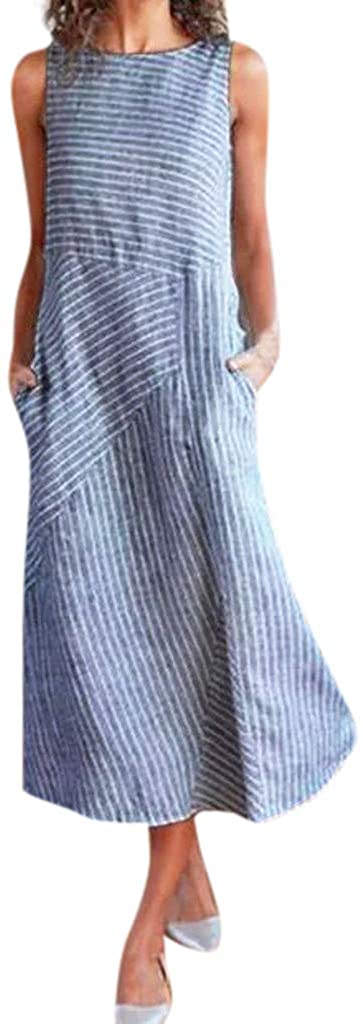 Clearance!! Women Vintage Linen Dresses Casual Loose Crew Neck Striped Sleeveless Long Dress with Pocket