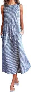 Women Casual Striped Sleeveless Dress Crew Neck Linen Pocket Long Dress