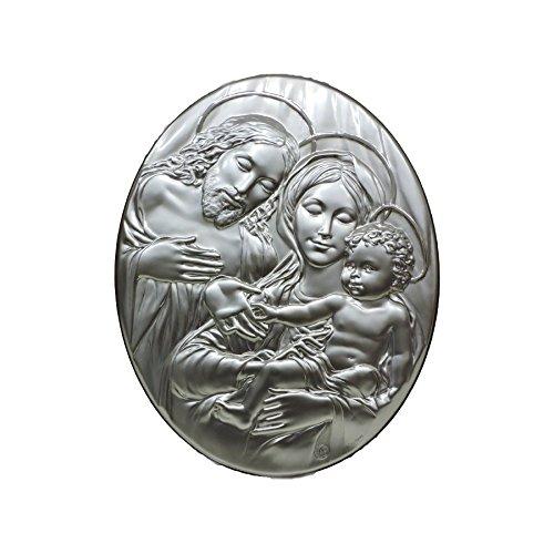 Quadro Sacro Ovale Capezzale Capoletto In Argento a Rilievo Maternità con Gesù