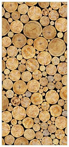 posterdepot ktt0189 deurbehang deurposter houtstapel rond grootte 93 x 205 cm