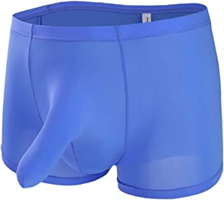 Men Long Bulge Pouch Sexy Bikini Short Breathable Ice Silk Underwear