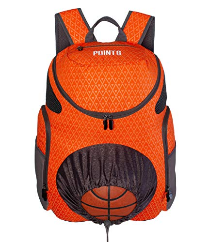Point 3 Road Trip 2.0 Basketball Backpack with Ball & Shoe Storage (Orange)