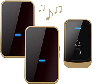 Wireless Doorbell with 2 Receivers-Easy Install, Over 1000-feet Range Feet with 45 Melodies, 4 Volume Levels & LED Flash