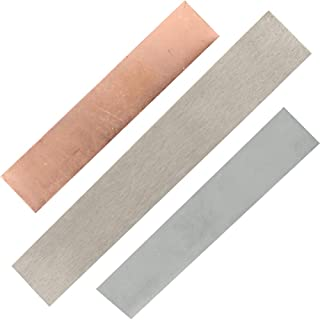 Anode Set-1 Pc 1 X 6 X 0.04 Inch Pure Nickel Anode Sheet, 1 Pc 3.93 x 0.79 x 0.04 Inch Copper Anode Sheet and 1 Pc 3.93 x 0.79 x 0.04 Inch Zinc Anode Sheet, for Plating and Electroplating