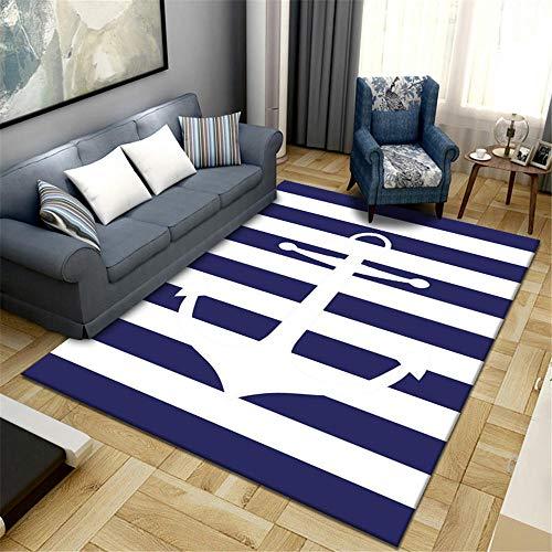 Alfombra Juvenil niño Dormitorio Alfombra Azul Rayas Simple Habitación Moderna Alfombra Suave Azul Alfombra para Silla Gaming 80x120cm alfombras etnicas 2ft 7.5''X3ft 11.2''
